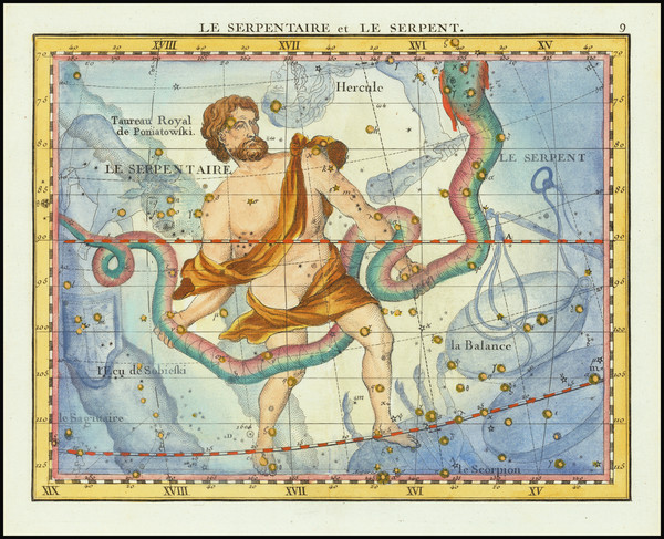 75-Celestial Maps Map By John Flamsteed / MJ Fortin