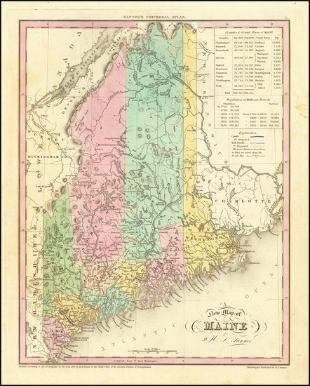 54-Maine Map By Henry Schenk Tanner