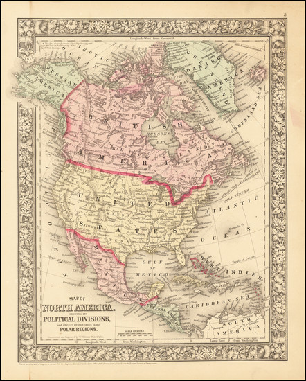 40-North America Map By Samuel Augustus Mitchell Jr.