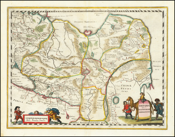 50-China, Central Asia & Caucasus and Russia in Asia Map By Matthaus Merian