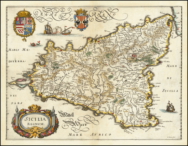 20-Sicily Map By Matthaeus Merian