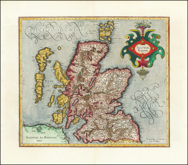 64-Scotland Map By  Gerard Mercator