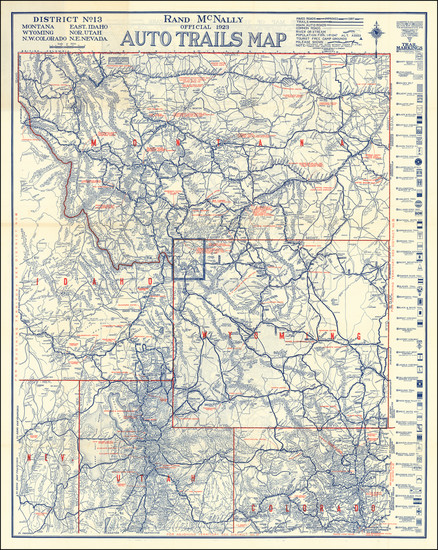 93-Colorado, Utah, Nevada, Colorado, Idaho, Montana, Utah and Wyoming Map By Rand McNally & Co