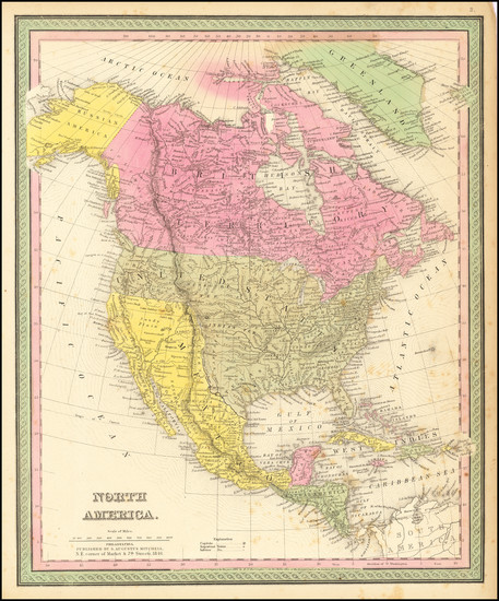 65-North America Map By Samuel Augustus Mitchell