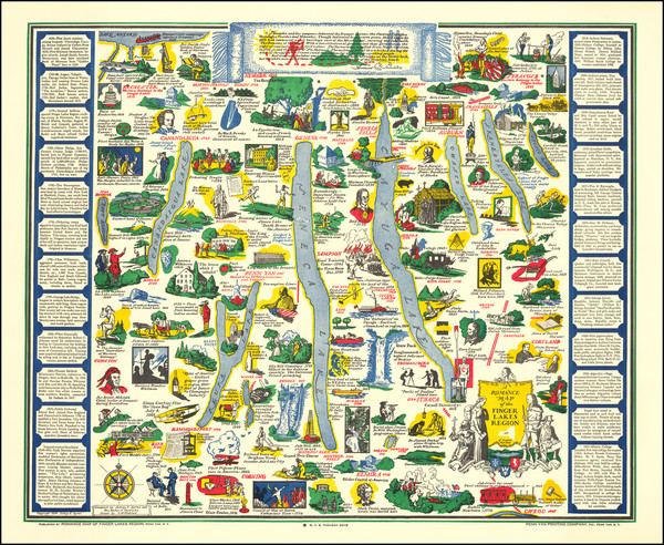 65-New York State and Pictorial Maps Map By C.M. Plaisted