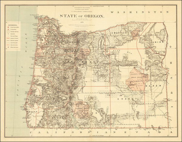 30-Oregon Map By U.S. General Land Office