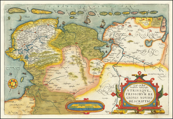 24-Netherlands Map By Abraham Ortelius