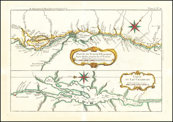 65-New England, Vermont, New York State and Canada Map By Jacques Nicolas Bellin