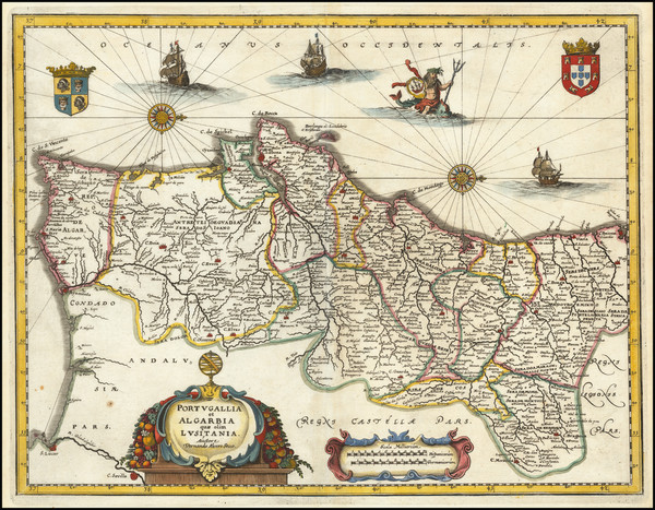 67-Portugal Map By Matthaus Merian