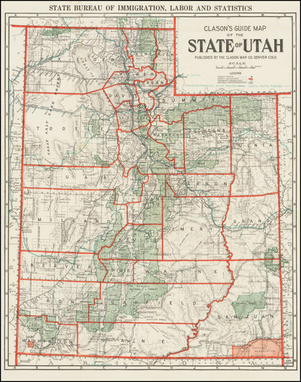 33-Utah and Utah Map By The Clason Map Company