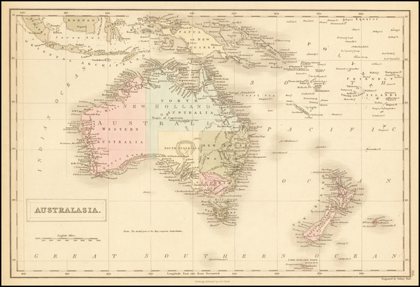 86-Australia, Oceania and New Zealand Map By Adam & Charles Black
