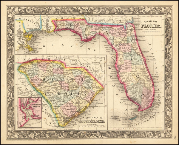 27-Florida Map By Samuel Augustus Mitchell Jr.