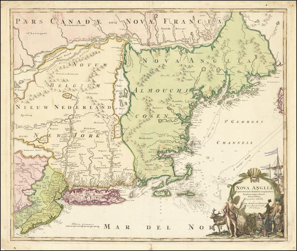 86-New England and Mid-Atlantic Map By Johann Baptist Homann