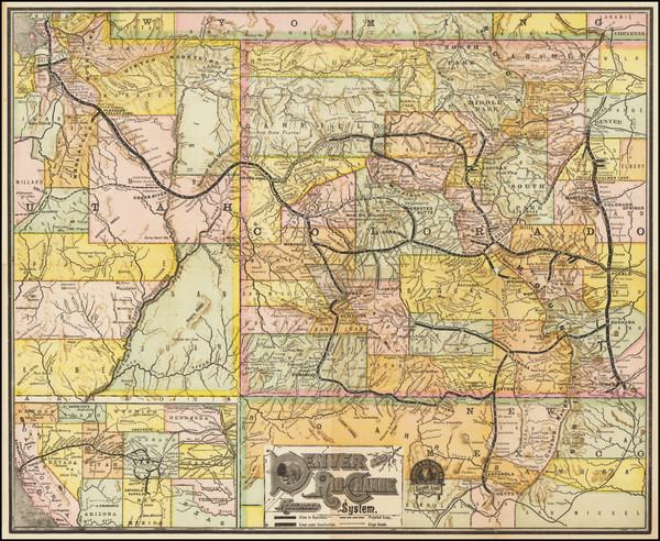 77-Colorado, Utah, New Mexico, Colorado and Utah Map By Denver & Rio Grande RR