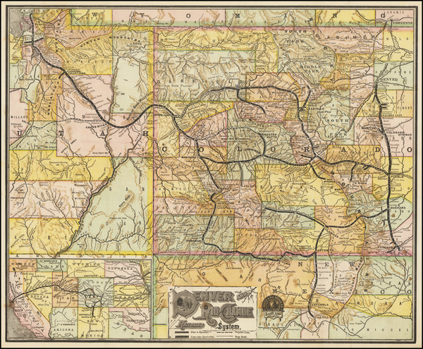 19-Colorado, Rocky Mountains and Colorado Map By Denver & Rio Grande RR
