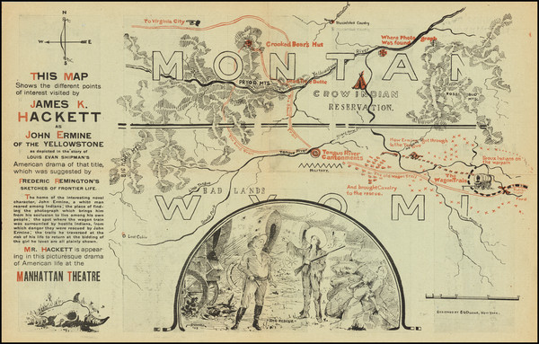 57-Montana and Wyoming Map By E. L. Duane