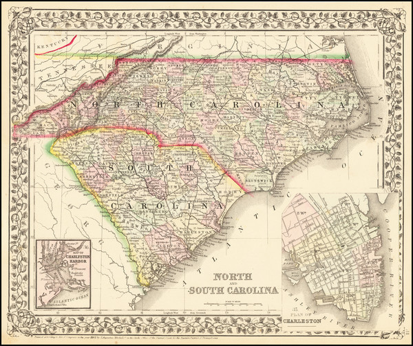 4-North Carolina and South Carolina Map By Samuel Augustus Mitchell Jr.
