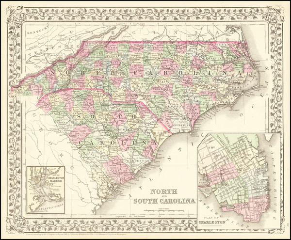 28-North Carolina and South Carolina Map By Samuel Augustus Mitchell Jr.