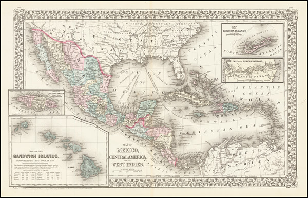 60-Southwest, Hawaii, Mexico, Caribbean, Australia & Oceania and Hawaii Map By Samuel Augustus