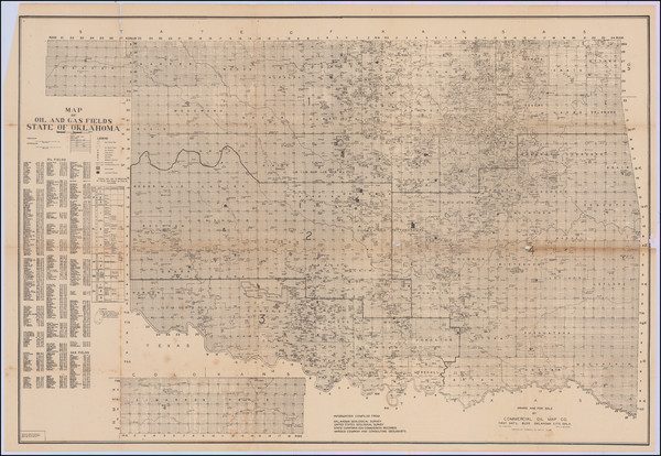 28-Oklahoma & Indian Territory Map By Commercial Oil Map Company