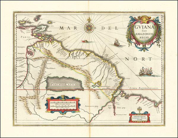 98-Guianas & Suriname and Venezuela Map By Willem Janszoon Blaeu