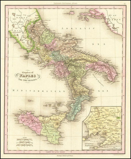 61-Southern Italy and Sicily Map By Henry Schenk Tanner