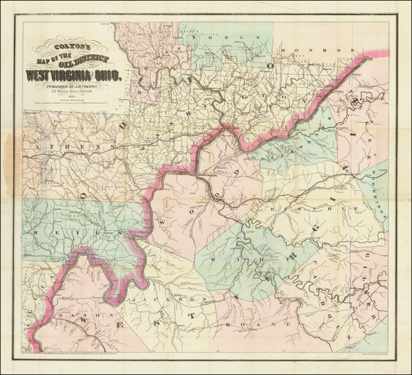 70-West Virginia and Ohio Map By Joseph Hutchins Colton