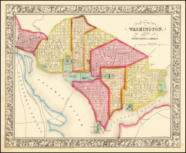 1-Washington, D.C. Map By Samuel Augustus Mitchell Jr.