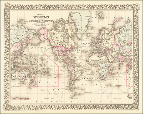 37-World Map By Samuel Augustus Mitchell Jr.
