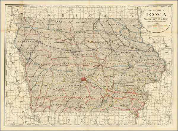 14-Iowa Map By Rand McNally & Company