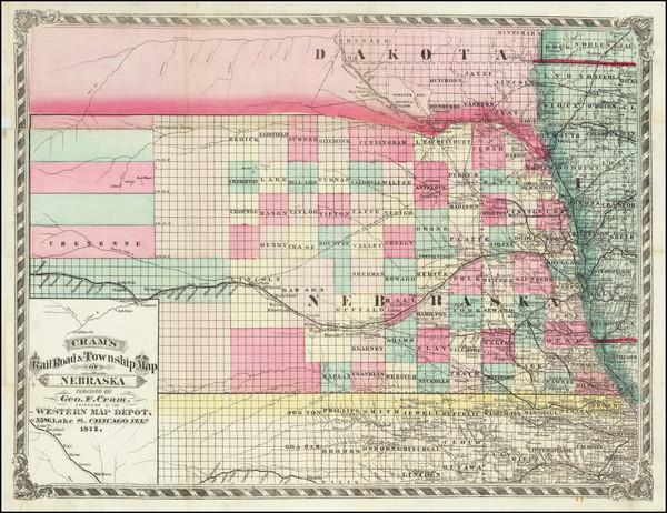 66-Nebraska Map By George F. Cram