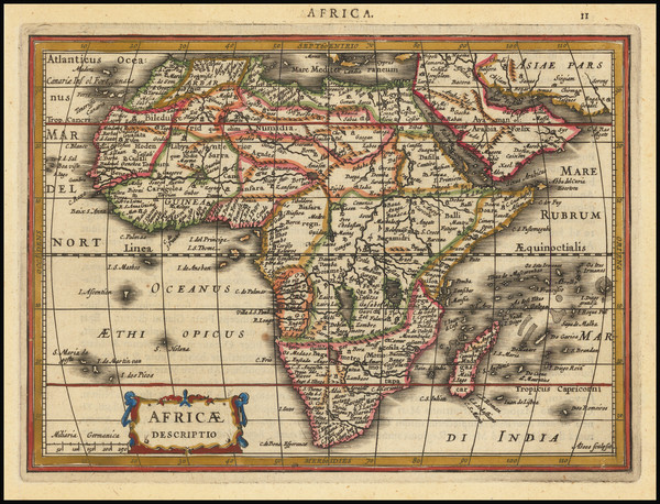 44-Africa Map By Jodocus Hondius / Gerard Mercator