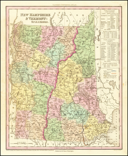 32-New Hampshire and Vermont Map By Henry Schenk Tanner