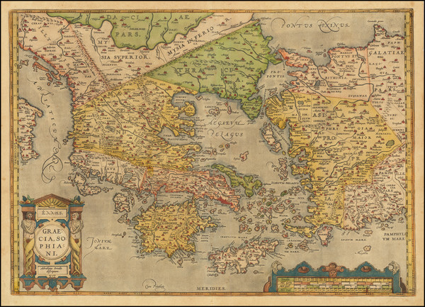 100-Greece, Turkey, Balearic Islands and Turkey & Asia Minor Map By Abraham Ortelius