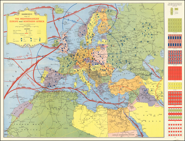 68-Pacific Ocean, Europe, Asia, Pacific and World War II Map By Hammond & Co.