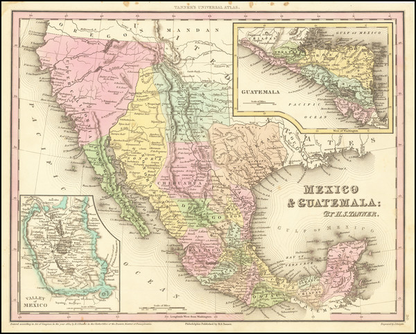 63-Texas, Southwest, Mexico and California Map By Henry Schenk Tanner