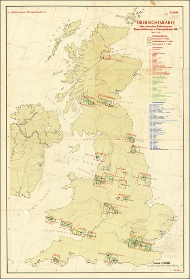 48-British Isles and World War II Map By Luftwaffenkommando Berlin