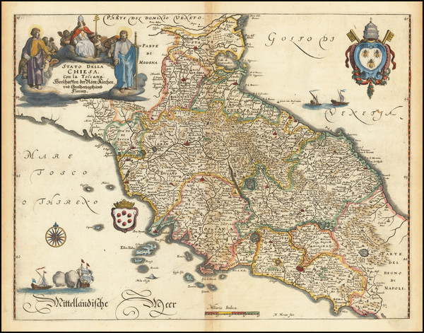 5-Northern Italy and Southern Italy Map By Matthaus Merian