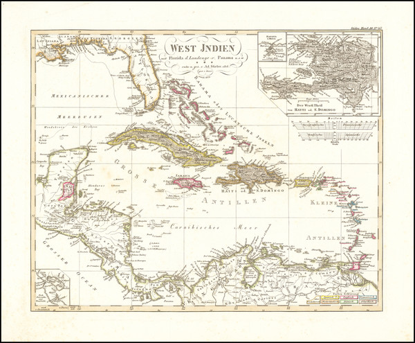 54-Florida, Caribbean, Hispaniola and Central America Map By Adolf Stieler