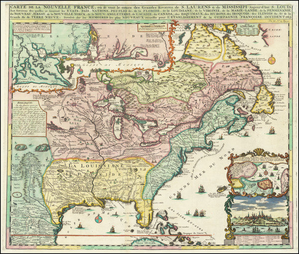 61-United States, South, Midwest and Canada Map By Henri Chatelain