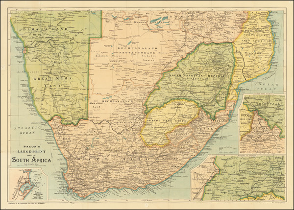 6-South Africa Map By G.W. Bacon & Co.