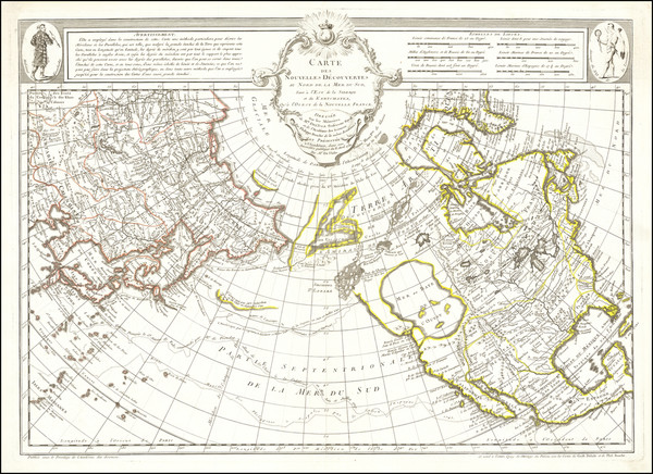 64-Polar Maps, Alaska, North America, Canada, Pacific and Russia in Asia Map By Philippe Buache /
