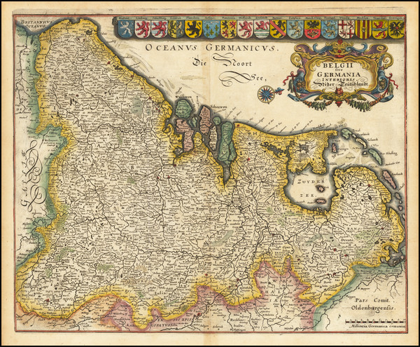 65-Netherlands Map By Matthaus Merian