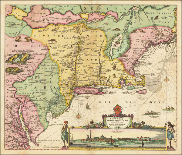 20-New England, New York State, Mid-Atlantic and Virginia Map By Nicolaes Visscher I