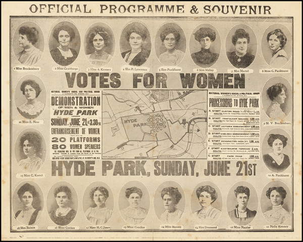 48-London and Curiosities Map By Women's Social and Political Union
