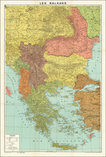 85-Romania, Balkans, Serbia, Albania, Kosovo, Macedonia, Bulgaria and Greece Map By E. Patesson