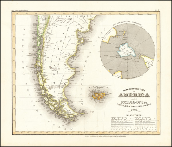 15-Polar Maps, Argentina and Chile Map By Joseph Meyer