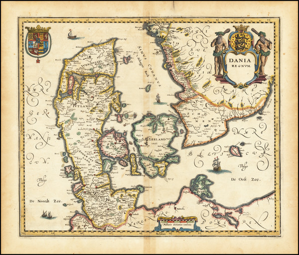 49-Denmark Map By Matthaus Merian