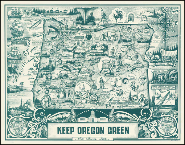 73-Oregon and Pictorial Maps Map By Hugh J. Hayes
