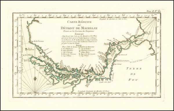 62-Argentina and Chile Map By Jacques Nicolas Bellin